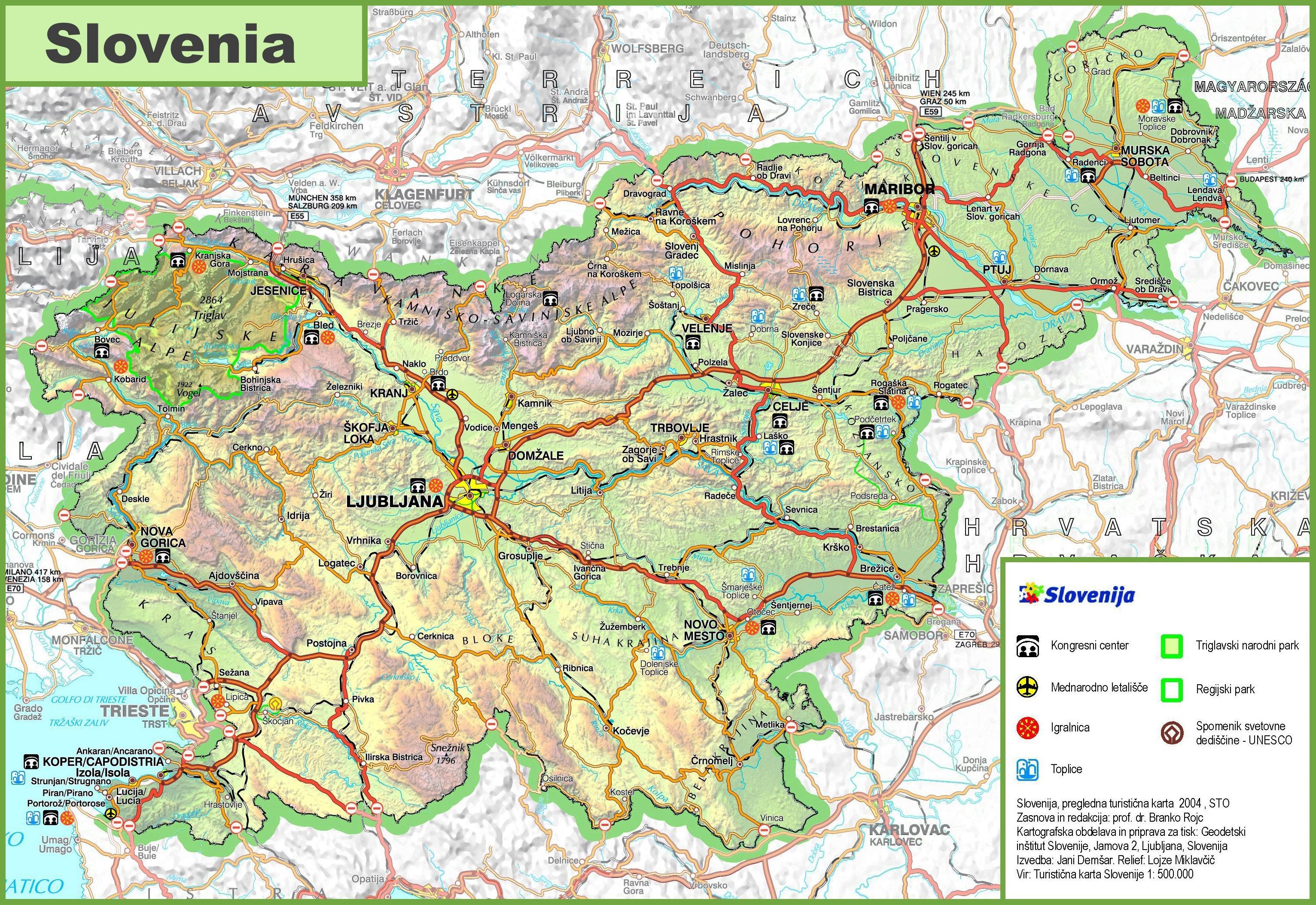 Sloveniya Dorozhnaya Karta Karta Slovenii Roud Yuzhnaya Evropa