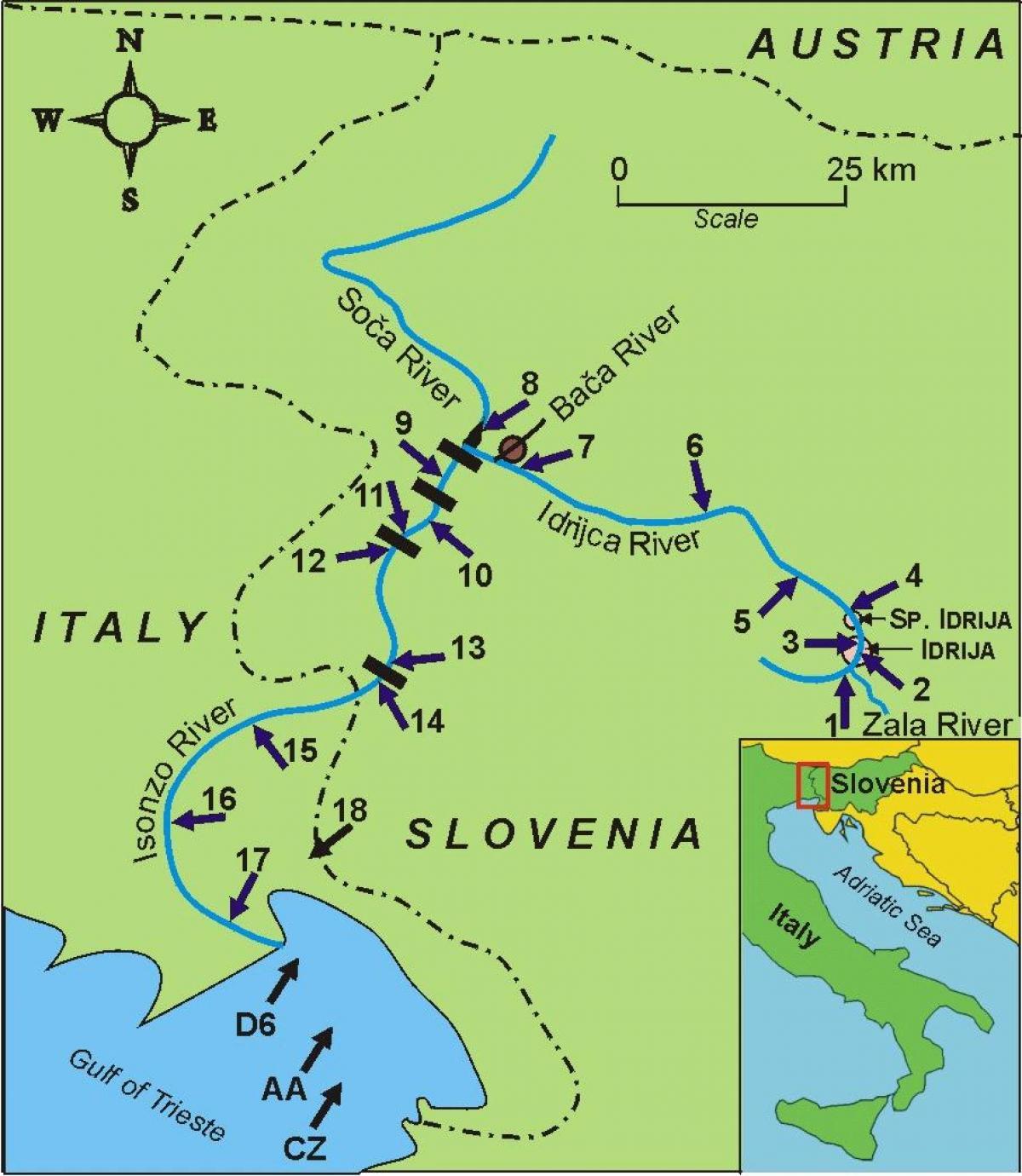 Reka Socha Sloveniya Karta Reki Socha V Slovenii Yuzhnaya Evropa